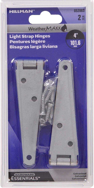 Hillman Hardware Essentials 852863 Light Strap Hinges Galvanized 4-2 Pack