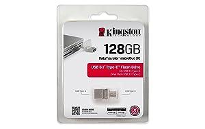 Kingston Digital 128GB Data Traveler Micro Duo USB 3C Flash Drive (DTDUO3C/128GB) (Tamaño: 128GB)