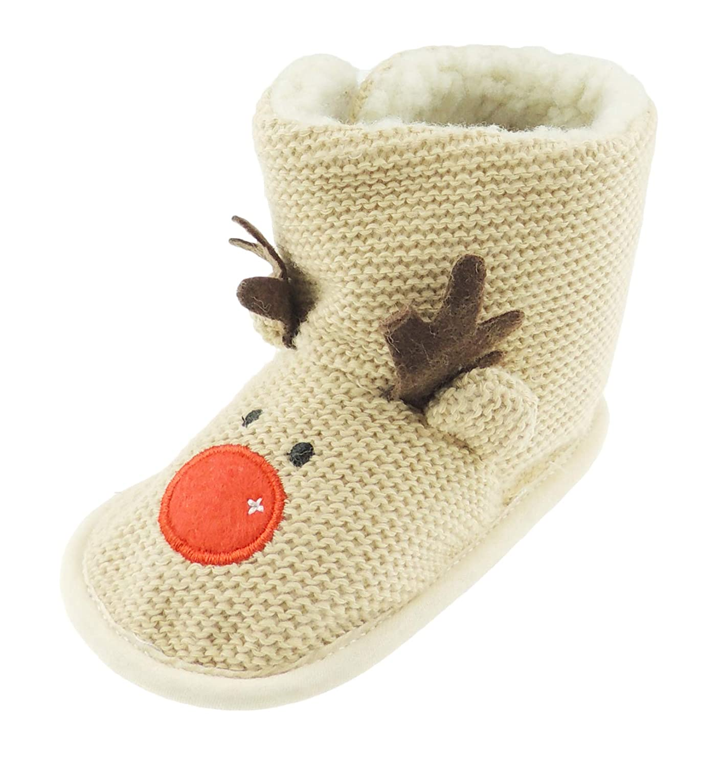Baby Girls Boys Festive Slippers Booties Pram Shoes Brown Christmas Red Nosed Reindeer (0-3 Months 11) Glamour Girlz