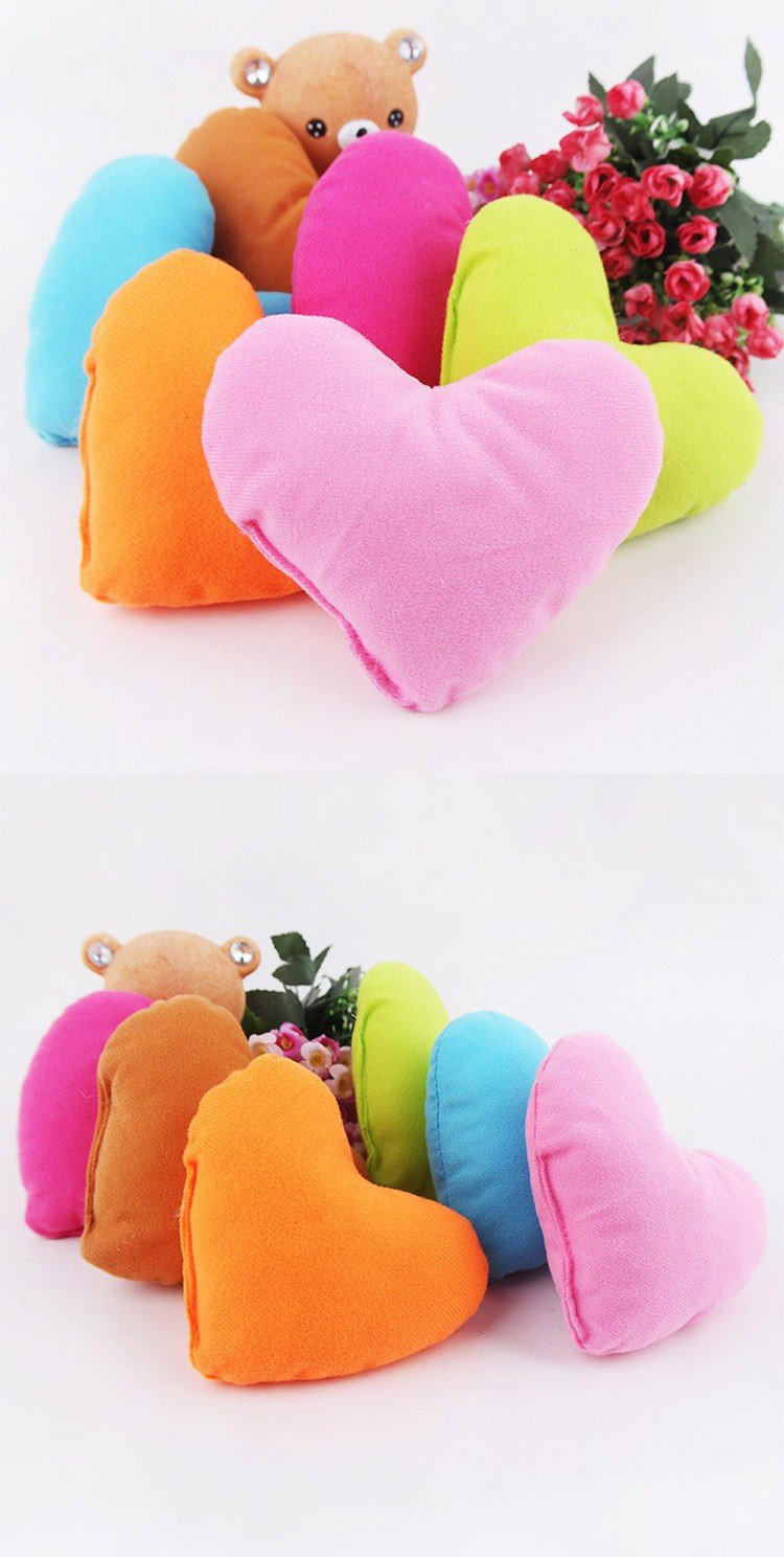 Pets Corner Market Cute Colorful Love Small Dog Pillow PP Cotton Padded Heart Shaped Pillow For Pet Toys Soft Plush Dog Bed Puppy Kennel Pillow (Fushia)