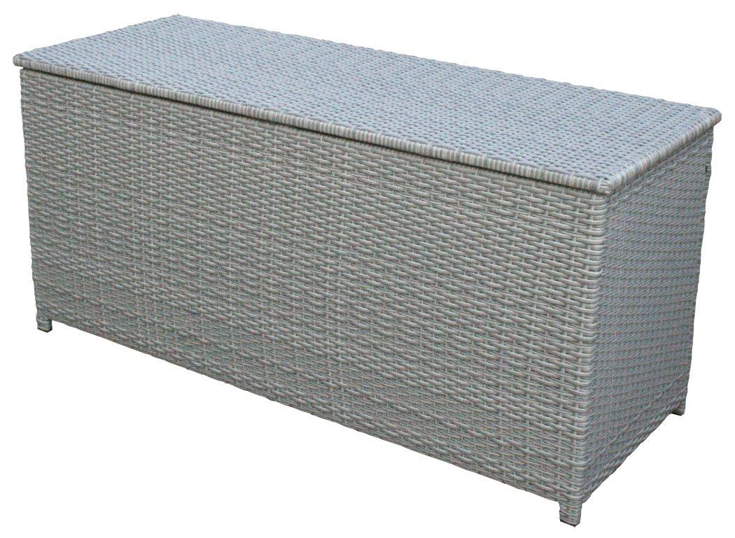 KMH®, Kissentruhe/Kissenbox Emma 130x50x61 cm aus grauem Polyrattan (2 String) (#106130)