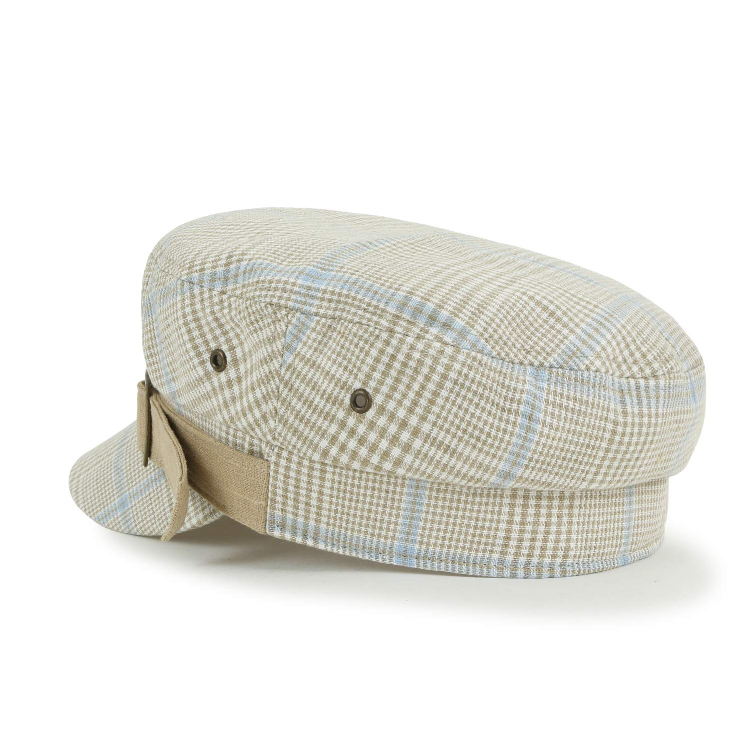 ililily Checkered Pattern Cotton Blended Belted Classic Casual Cadet Cap