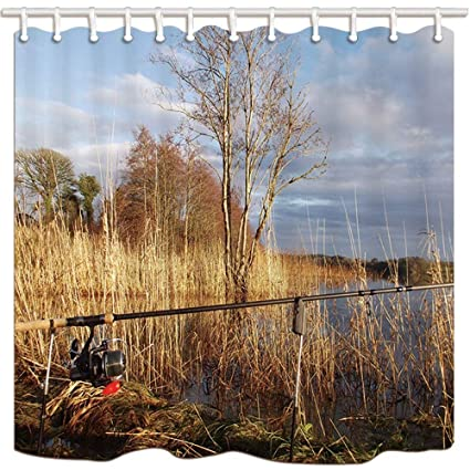 Yaoni Fishing Shower Curtains Rod Wetland Read Marshes Mildew Resistant Polyester Fabric Bath