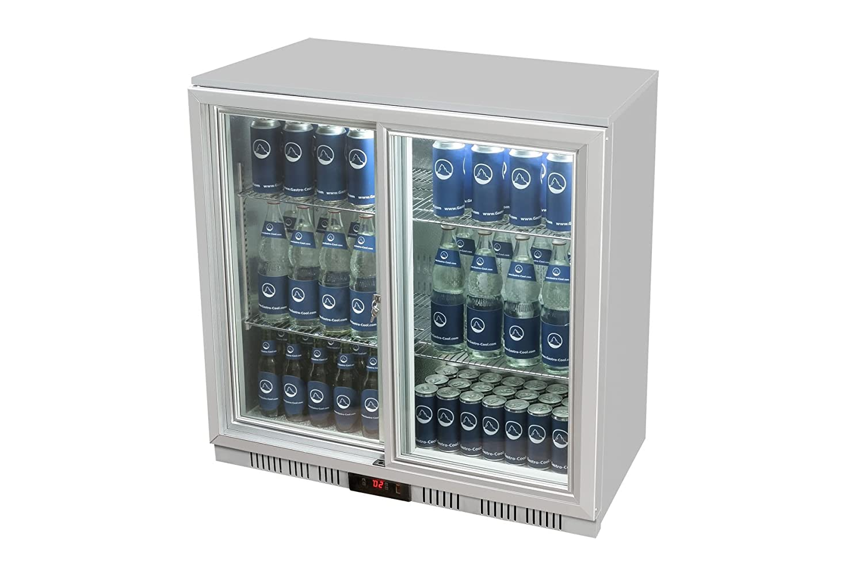 Glastür-Kühlschrank 90 x 90 x 52 cm silber   Getränkekühlschrank mit ...