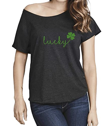 f83956378 Image Unavailable. Image not available for. Color: Lucky Ladies Triblend  Dolman T-Shirt Irish Girl Women St Patrick's Day Graphic Tee Shamrock