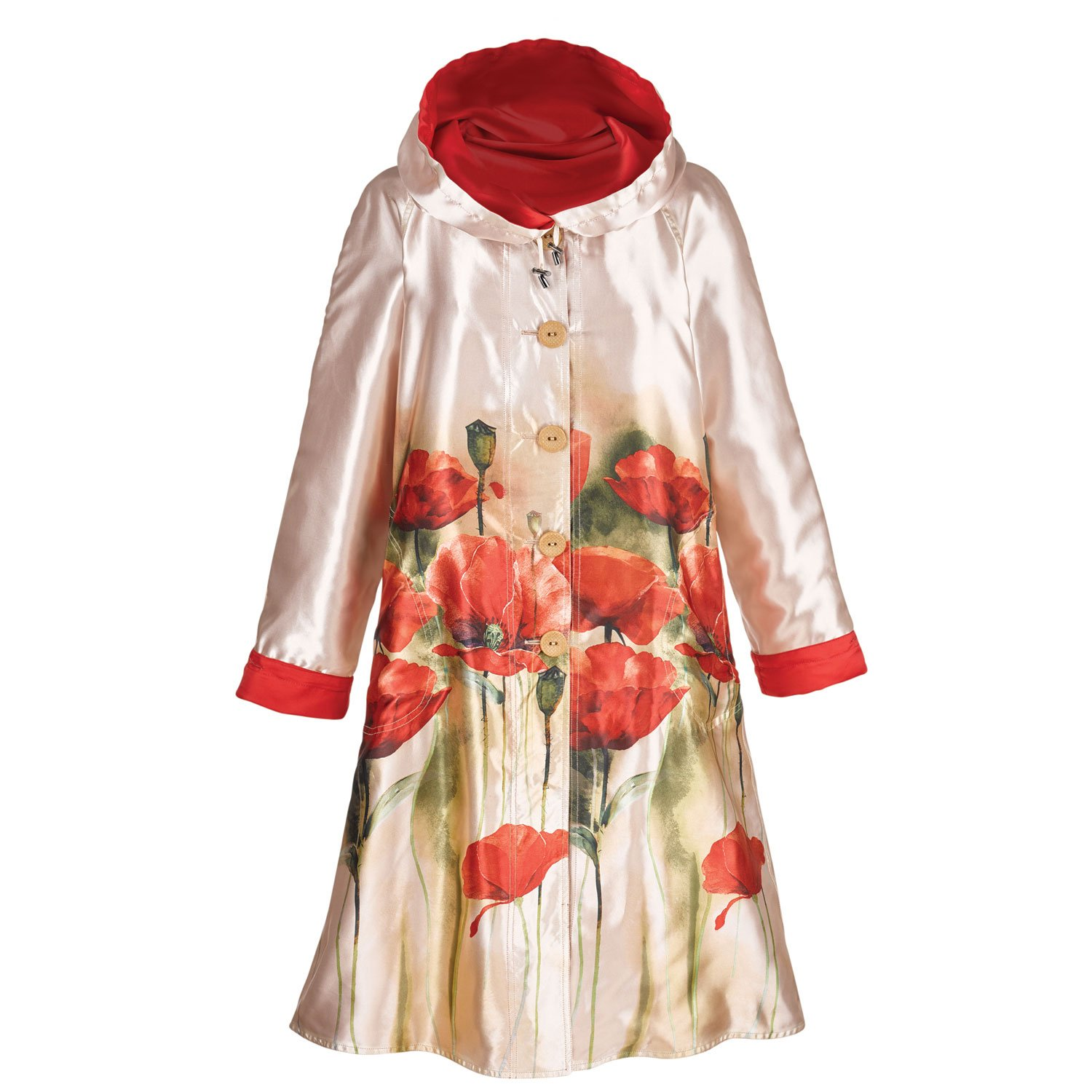 Women's Reversible Poppies Raincoat - Button Front Jacket With Hood - Large