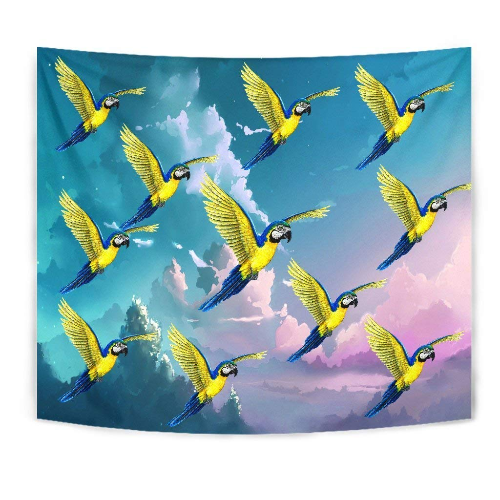 Blue and Yellow Macaw Parrot Print Tapestry by Simply Cool Trends