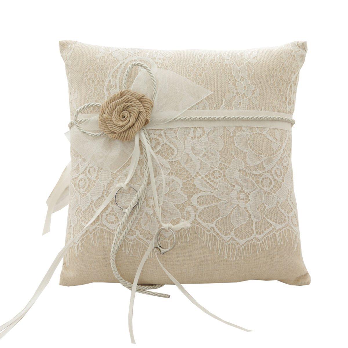 SCWEDDING Handmade Hessian Wedding Ring Pillow Rustic Burlap Ring Cushion Bearing with Eyelash Lace 21cm21cm