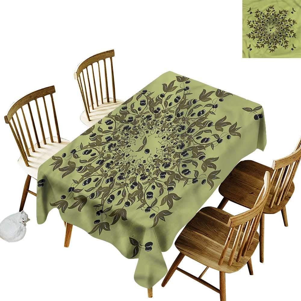 テーブルカバー オリーブグリーン フルーツの枝 ホームゴージャスでハイエンドな品質 幅52インチ x 長さ70インチ   B07PXY7TL7