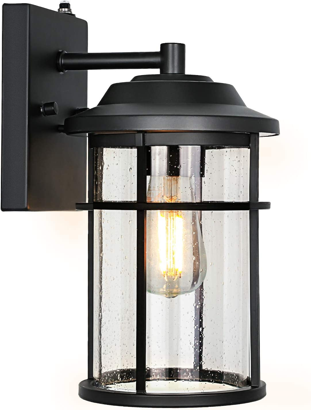 Outdoor Wall Light Fixture with Dusk to Dawn Photocell, LED Bulb Included, Matte Black Wall Sconce with Seeded Glass Shade for Entryway, Porch, Front Door, ETL Listed