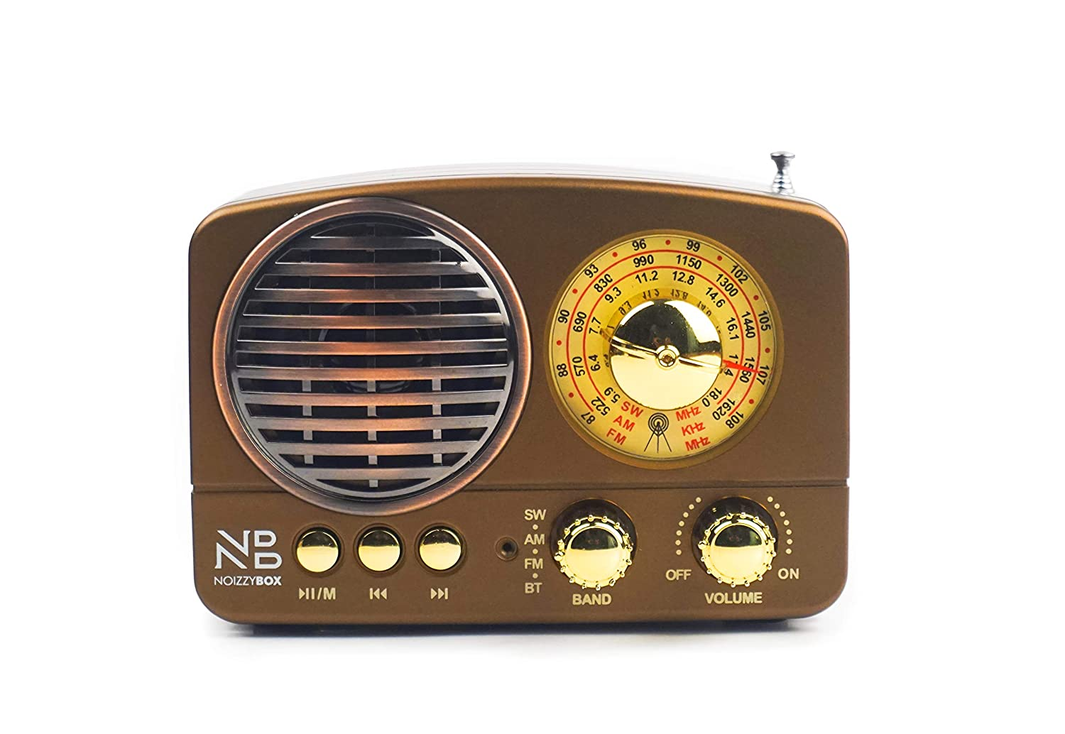 Noizzy Box Retro XS Vintage Classic Portable Bluetooth Speaker with LED Light/Display/FM Radio/Support Micro TF SD Card/USB Input, AUX Line-in (Brown) Featured Image