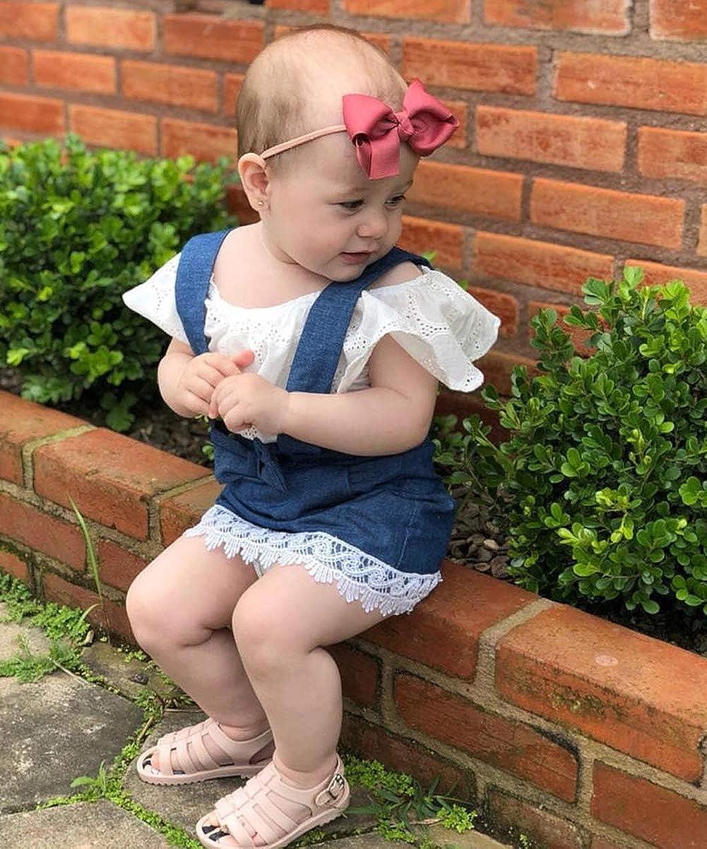 Infant Baby Girl Off Shoulder Short Sleeve Tshirt Top Denim Overall Skirt Outfits