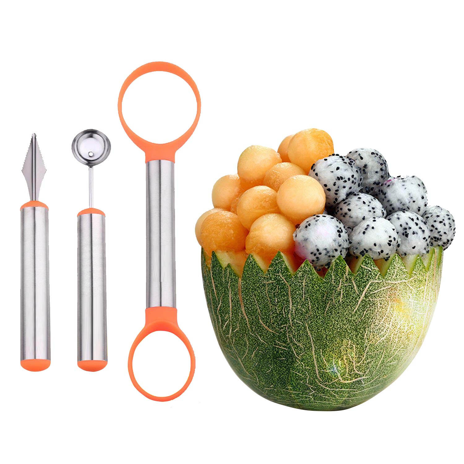 WAAO 3-in-1 Stainless Steel Melon Baller & Carving Knife & Fruit Scoop Set for Fruit Slicer Dig Pulp Separator and Carve by WAAO