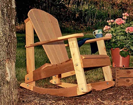 Amazoncom Cedar Adirondack Rocking Chair Patio Dining Chairs