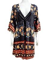 Manggo Fashion novas mulheres marca de moda vestido de impressão padrão floral solto mini vestidos sexy