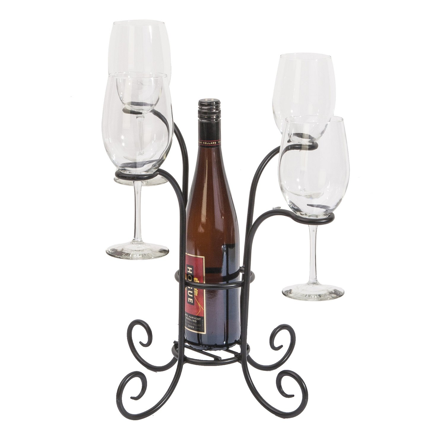 Panacea 87939 Wine Bottle and Glasses Caddy, 15-Inch Height by 14.3-Inch Width, Black
