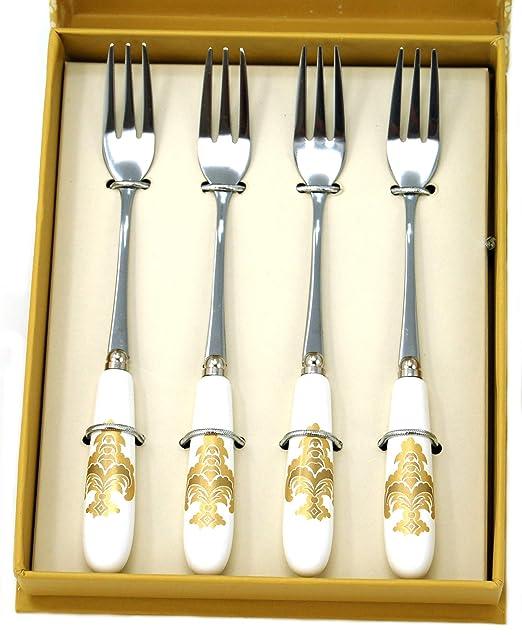 Laura Ashley - Juego de 4 tenedores para postre (acero ...