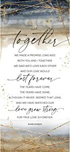 Together We Made a Promise Wood Plaque Inspiring Quote 5.5 in x 12 in - Classy Vertical Frame Wall Hanging Decoration   Christian Family Religious Home Decor Saying
