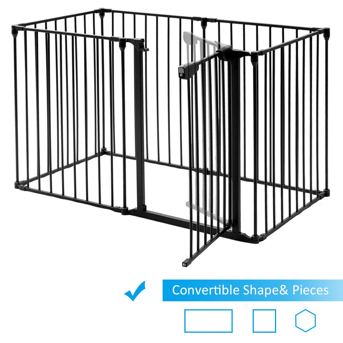 Yard Barrie Room Divider COSTWAY 6/&8 Panel Baby Playpen Metal Foldable Design Multiple Use for Pet Fence 6 Panels, Black Fire Guard