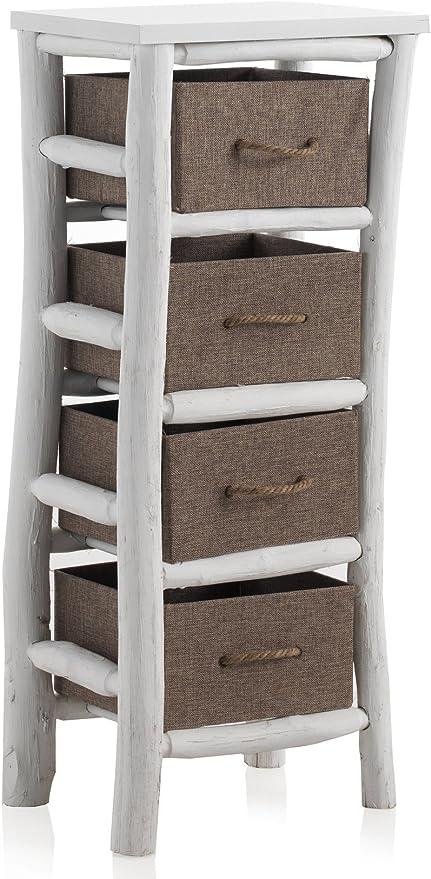 GEESE Cajonera de Madera con 4 cajones Acabado Rustico, Blanco, 30x40x95 cm: Amazon.es: Hogar