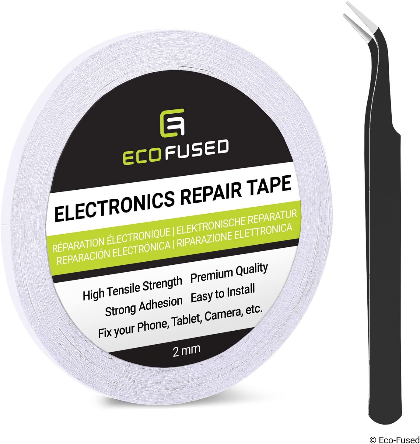 2mm Adhesive Sticker Tape for Use in Cell Phone Repair also including 1 Pair of Tweezers//ECO-FUSED Microfiber Cleaning Cloth