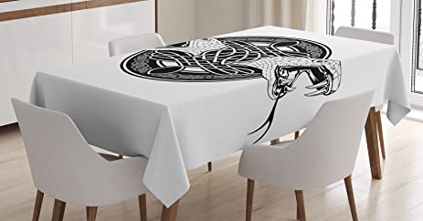 Celtic Decor Tablecloth By Ambesonne Vintage Rounded Image With The Heads Of Two Snake