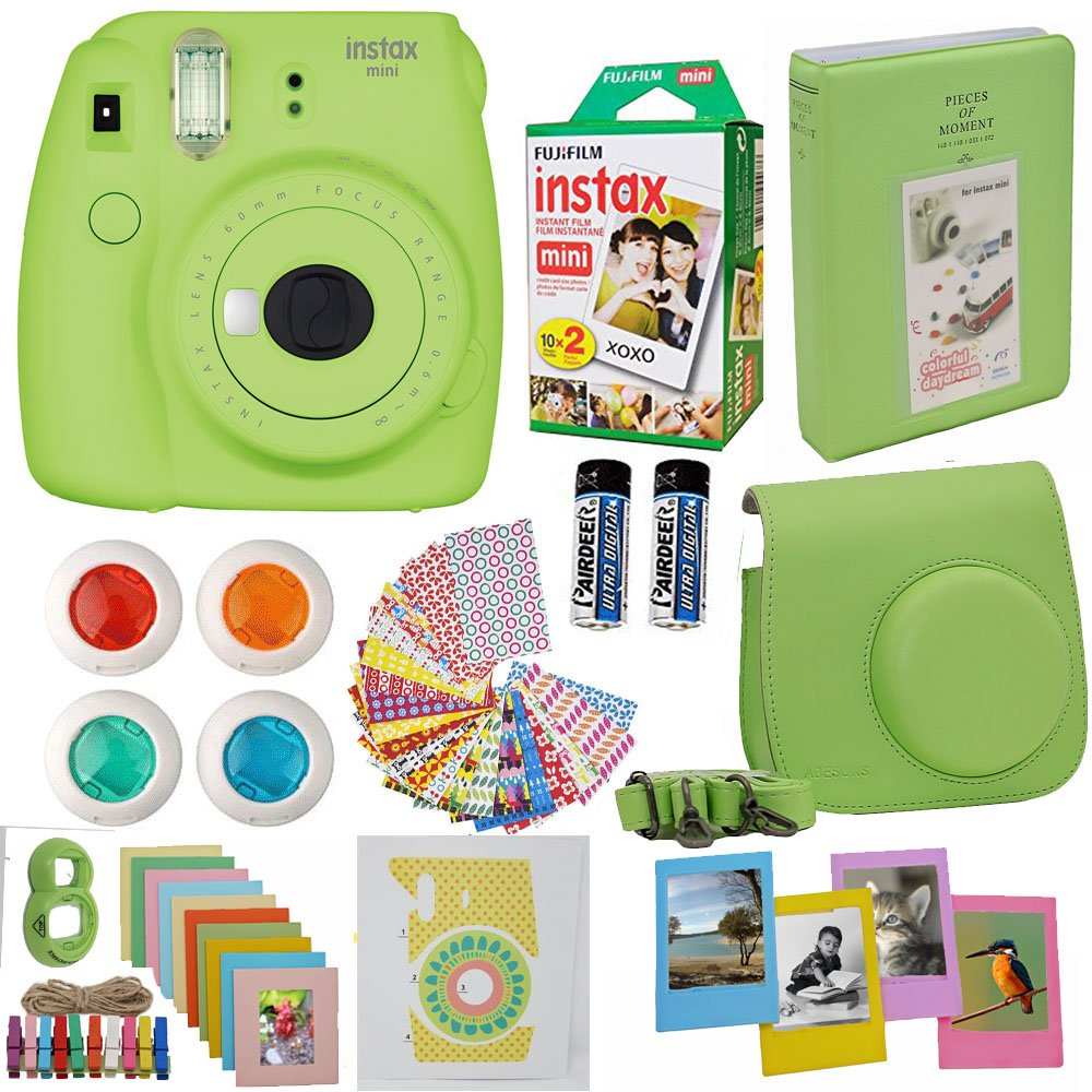 Fujifilm Instax Mini 9 Instant Camera Lime Green + Fuji Instax Film Twin Pack (20PK) + Camera Case + Frames + Photo Album + 4 Color Filters And More Top Accessories Bundle by Abesons
