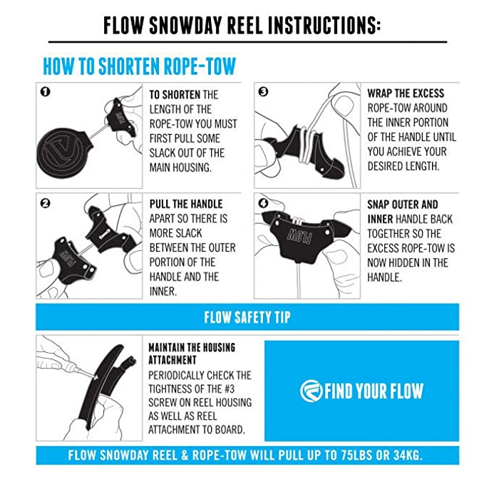 Amazon Flow Snowday Reel Retractable Rope Tow Sports Outdoors