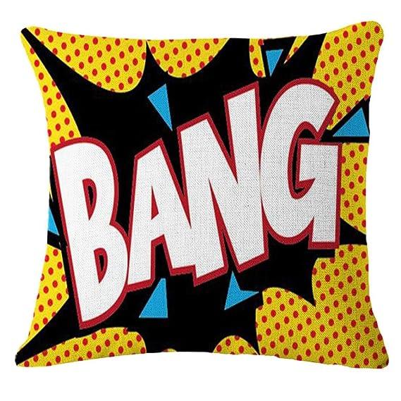Funda de cojín de lino y algodón, 45x 45 cm, Carta - BANG/OK / POW/BOOM / OMG/ZAP /KA-POW/POP