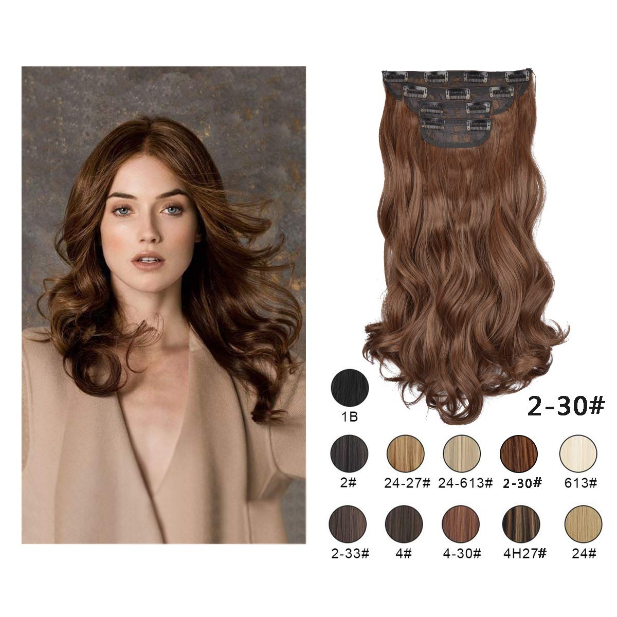 Barsdar 20'' Clips in Hair Extensions 4P11C Wavy Curly Hairpiece For Women lady Synthetic Heat Fiber Hair Extension (2/30#)
