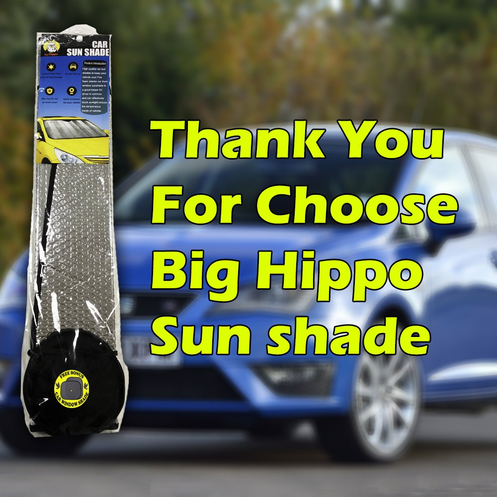 Windshield Sun Shade, Car Window Shade as Bonus by Big Hippo Keep Vehicle Cool Protect Your Car from Sun Heat & Glare Best UV Ray Visor Protector (Size: 55.16