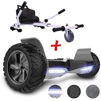 GeekMe Patinete Eléctrico Todo Terreno de 8,5 Scooter Equilibrado con Potente Motor Bluetooth y App + Hoverkart Accesorio para Patinete Eléctrico