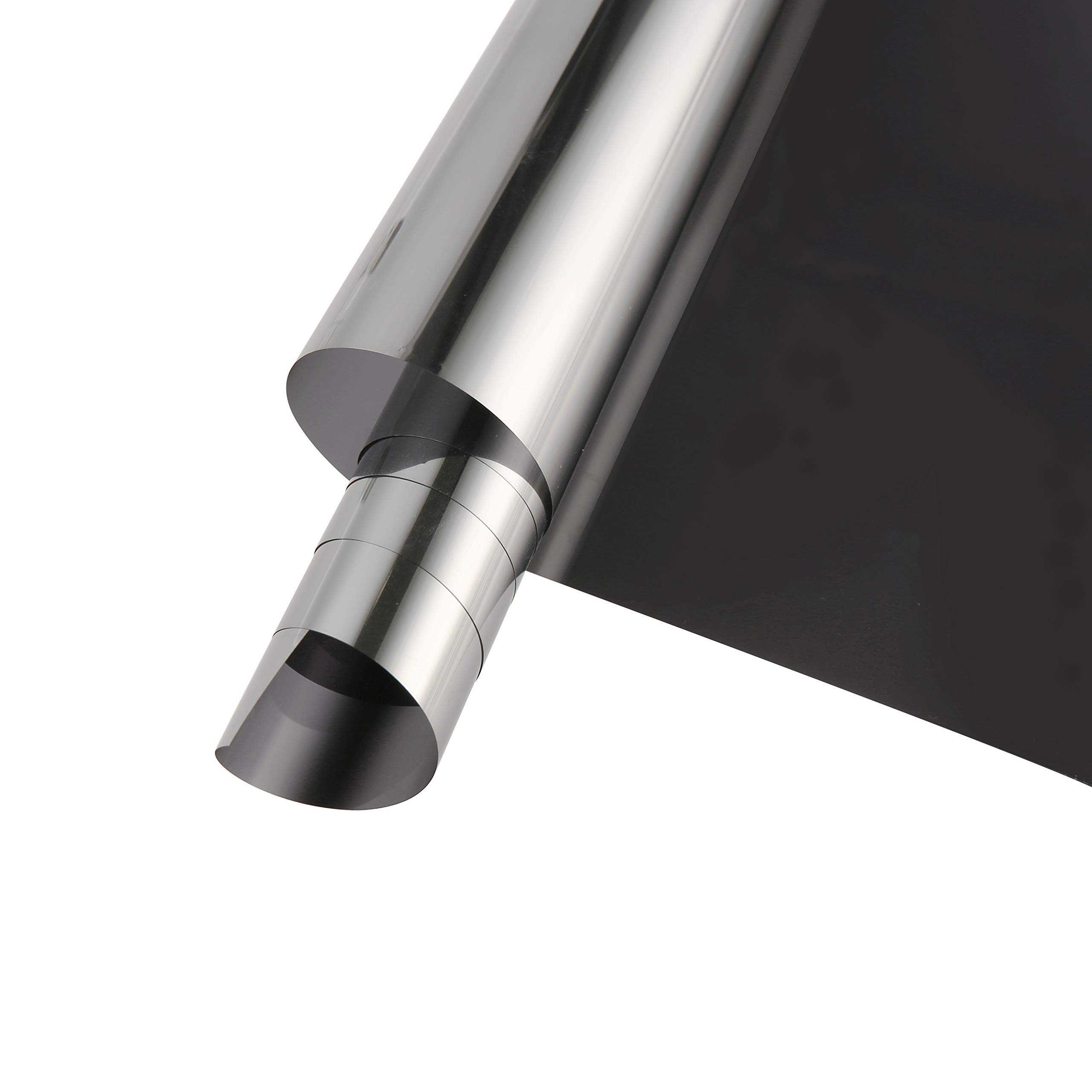 SW One Way Mirror Film Adhesive Reflective Privacy Window Film Heat Control Anti UV Window Tint, 60Inch x 33Feet, Black Silver