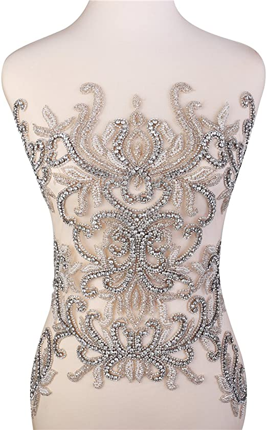 Designer Rhinestone Beaded Applique Wedding pair Left and Right # 80871 Rhinestone Fabric
