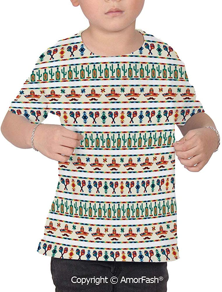 PUTIEN Mexican Girl Regular-Fit Short-Sleeve Shirt,Personality Pattern,Latin American C