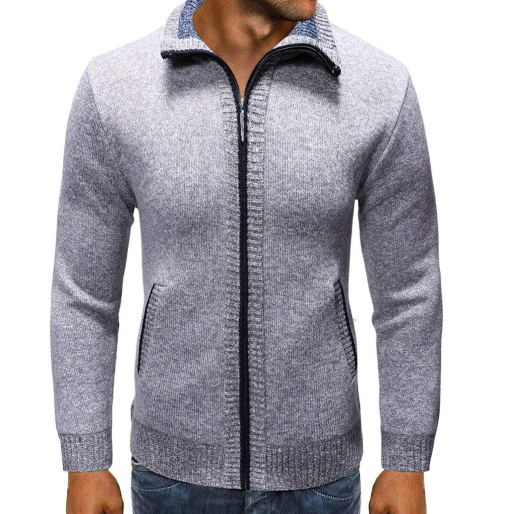 FEDULK Men's Plain Cardigan Sweater Jacket Pure Color Long Sleeve Stand Collar Zipper Comfort Fit Coat(Gray, X-Large) by FEDULK