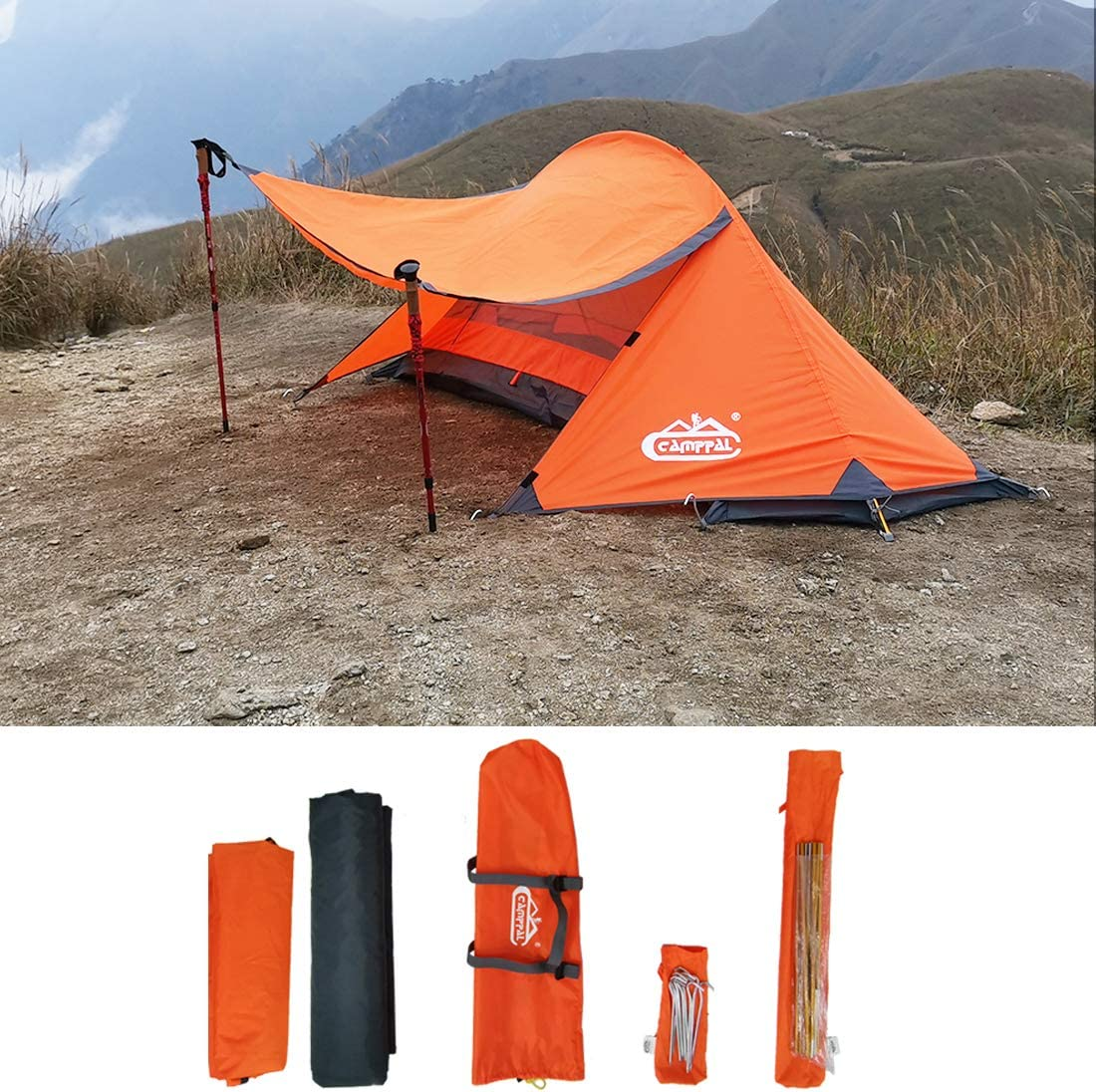 camppal Professional 1 Person Extreme Space Saving Single Bracket Tent, 4 Season Mountain Tent, Lightweight Backpacking Tents, Waterproof Hiking Hunting Camping Tent (MT051)