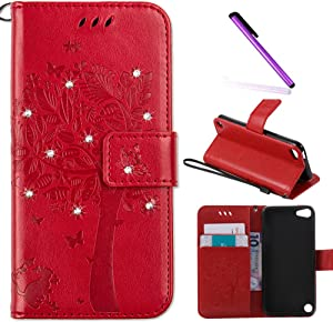 iPod Touch 5 Case,iPod Touch 6 Case,LEECOCO Embossed Floral Bling Diamonds Butterfly with Card Slots Flip Stand PU Leather Wallet Case for iPod Touch 5th 6th Generation Wishing Tree Red