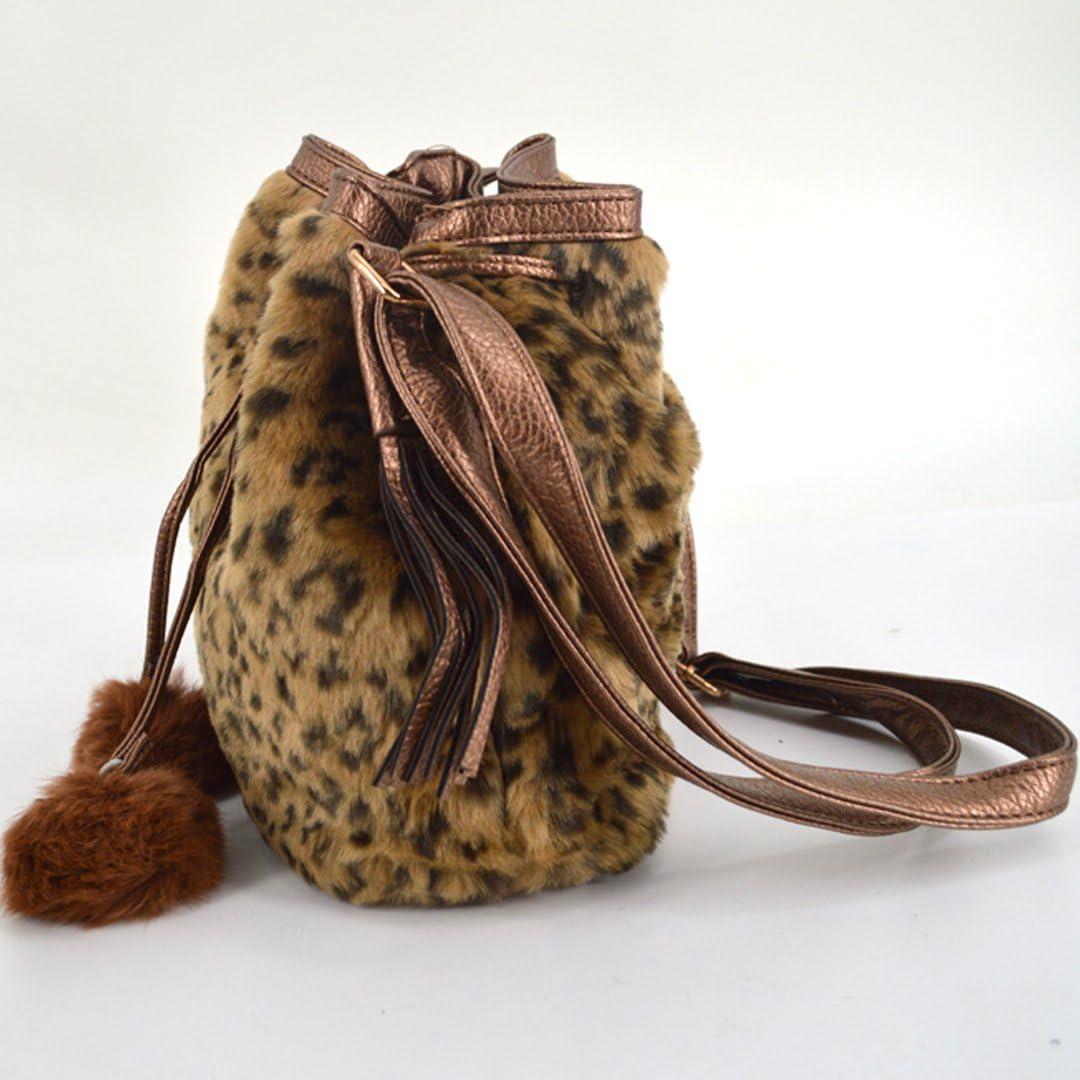 ABBY Femme Sac à Fourrure en Lapin Hiver Coréen Personnalisé en Forme de Seau Type Sac à Dos Pochette Sac à Epaule Unique Gris Leopard Marron