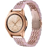 CAGOS Resin Bands Compatible Samsung Galaxy Watch (42mm) Rose Gold, Stylish Lightweight Resin Strap Wristband Bracelet for Garmin Vivoactive 3/Ticwatch E Smartwatch (Pink+Rose Gold)