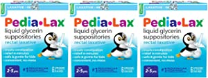 Pedia-Lax Liquid Glycerin Suppositories Laxative | Kid's Constipation Relief in Minutes | 6 Applicators | Pack of 3