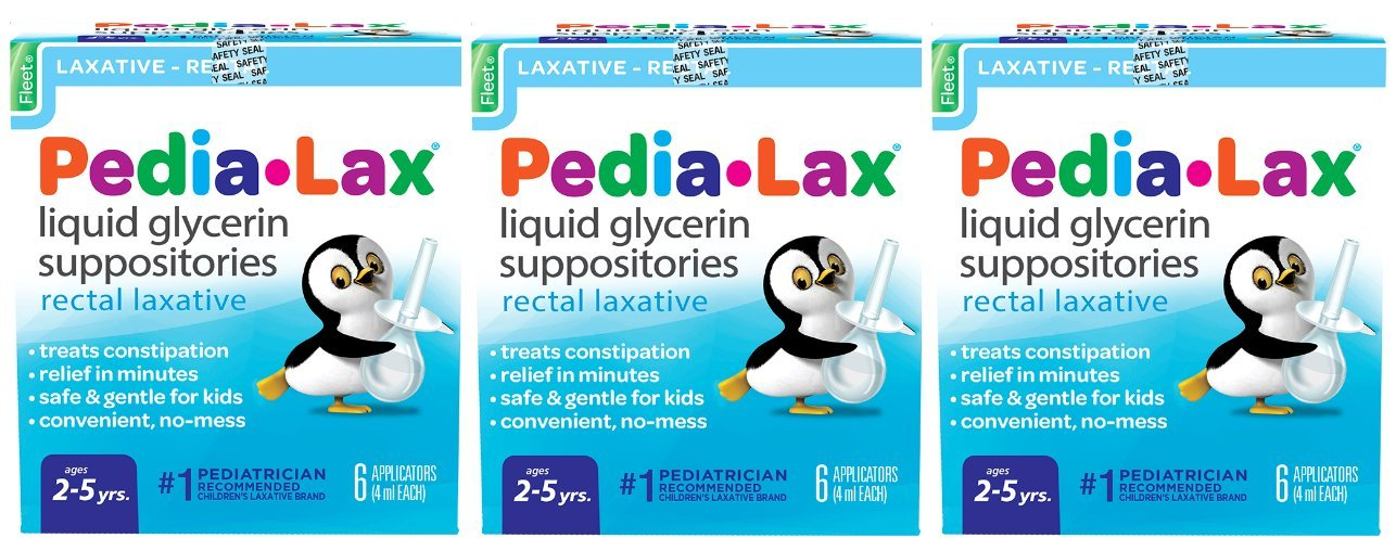 Pedia-Lax Liquid Glycerin Suppositories Laxative | Kid's Constipation Relief in Minutes | 6 Applicators | Pack of 3 by Pedia-Lax