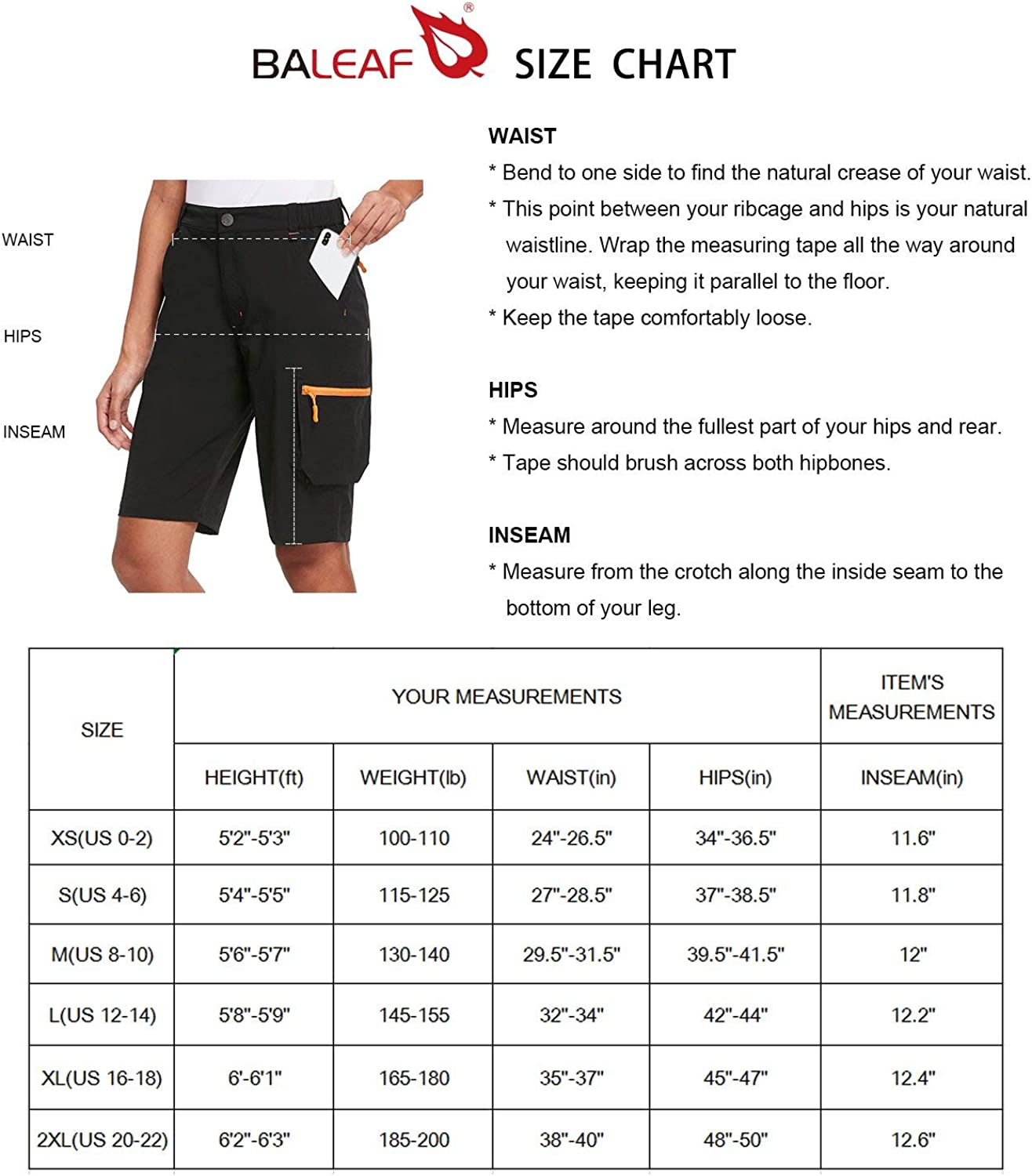 Travel Multi Pocketed Shorts Water Resistant for Camping BALEAF Womens Hiking Cargo Shorts Quick Dry UPF50