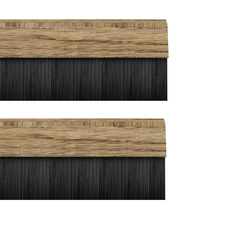 STORMGUARD 02AM0010838LWO BDS Cover Clip Bottom of The Door Brush Draught Seal, Light Oak, 838 mm, Set of 2 Pieces Srormguard
