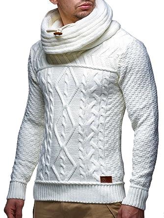 LEIF NELSON Herren Pullover Strickpullover Hoodie Sweatshirt Pulli  Schalkragen LN7025N  Amazon.de  Bekleidung 440d10cec2