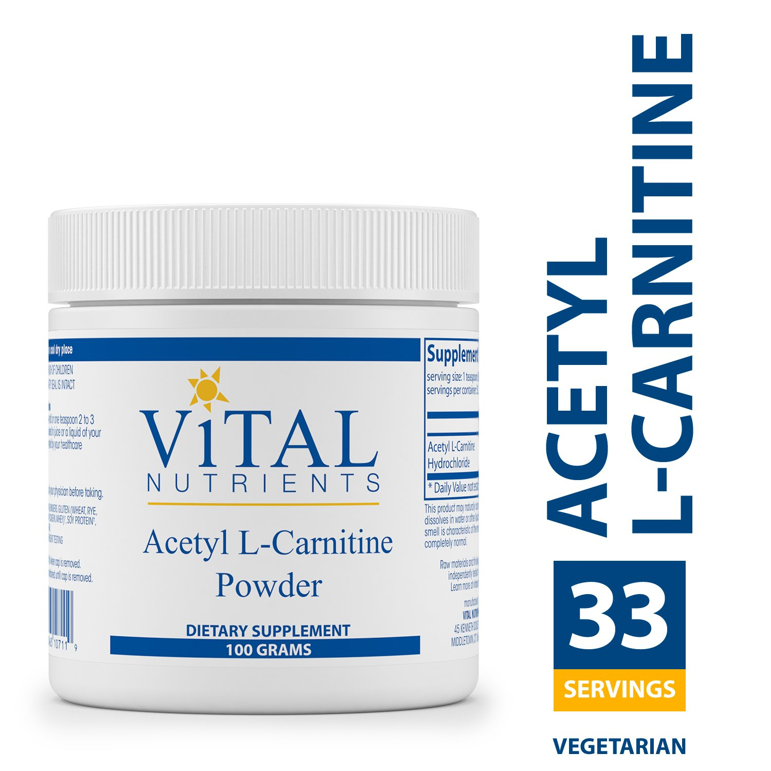 Vital Nutrients - Acetyl L-Carnitine Powder - Supports Normal Brain Function and Memory - 3000 mg per Serving - Vegetarian - 100 Grams