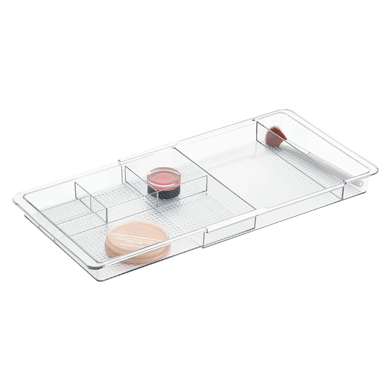 InterDesign Clarity Plastic Expandable Drawer Organizer for Vanity, Bathroom, Kitchen, Desk Storage, Extends up to 18.5 Inches, Clear