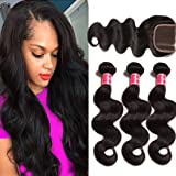 Nadula 7A Unprocessed Brazilian Remy Virgin Human Hair Body Wave Weave Pack of 3 with Free Part Lace Closure Natural Color(10 12 14+10inch Closure)