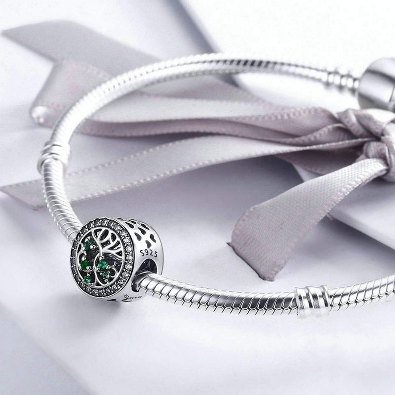 EverReena Tree of Life,Green Elegant CZ Stone Silver Beads Bracelets