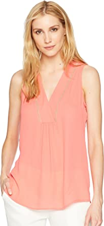 a6a934fb453ba Ivanka Trump Women s Georgette Sleeveless V-Neck with Trimming Detail Guava  X-Small